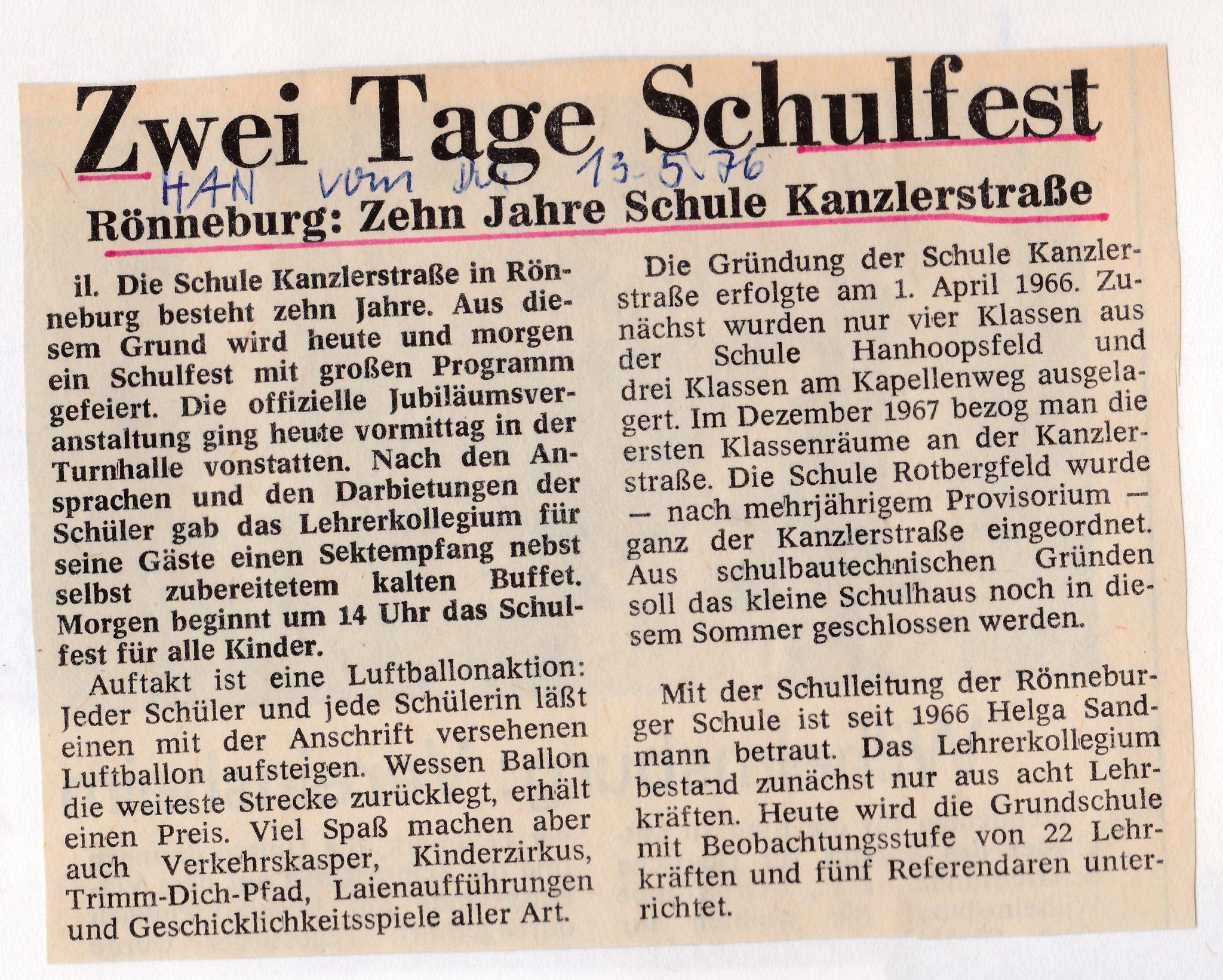 Zeitungsartikel zum 10-jährigen Jubiläum